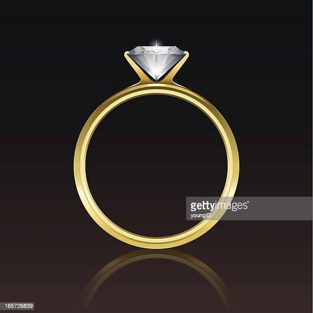 an animated picture of a diamond gold ring - ring stock illustrations