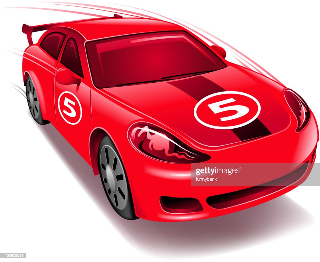 An animated red race car with the number 5 : stock illustration