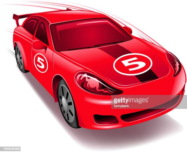 an animated red race car with the number 5 - rally car racing stock illustrations, clip art, cartoons, & icons