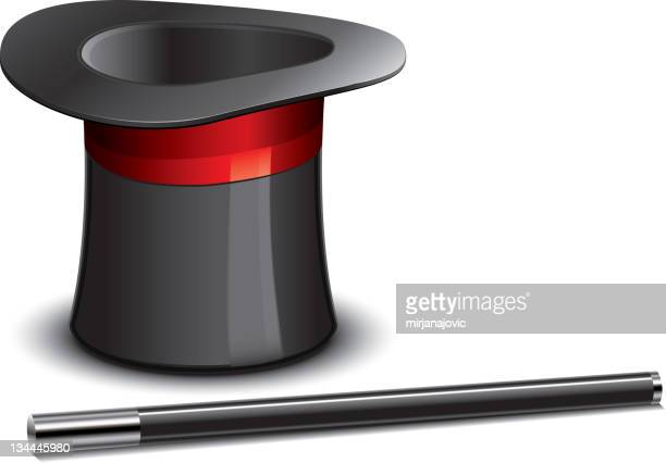 An animated top hat and magicians wand