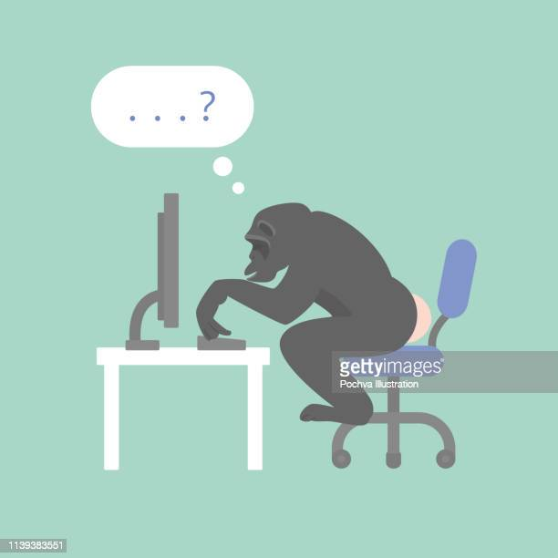an ape sitting in front of computer vector illustration - chimpanzee stock illustrations, clip art, cartoons, & icons