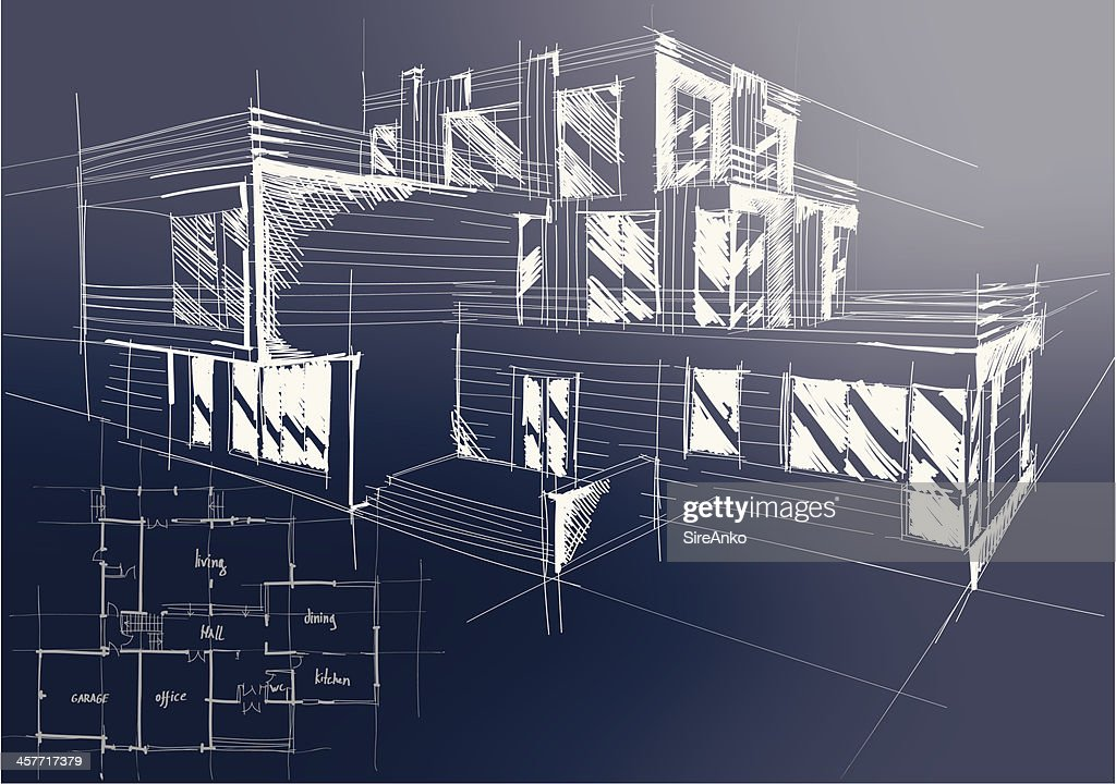 An architectural blueprint of plans for a new building vector art an architectural blueprint of plans for a new building vector art malvernweather Images