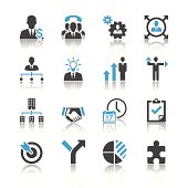 An assortment of black and blue business management icons