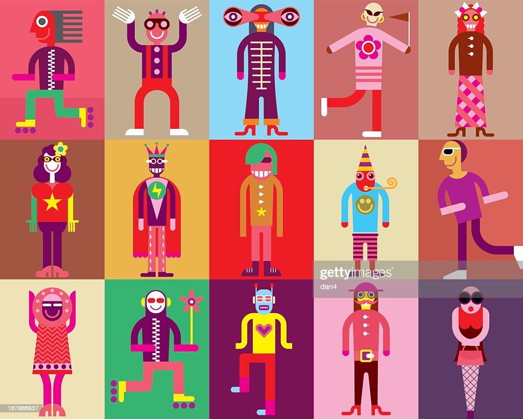 An assortment of colorful cartoon people wearing costumes