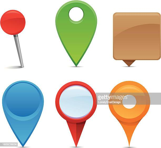 an assortment of colorful navigation pins - famous place stock illustrations