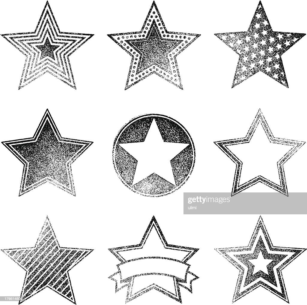 An assortment of different faded star designs : stock illustration