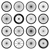 An assortment of illustrated bicycle wheels