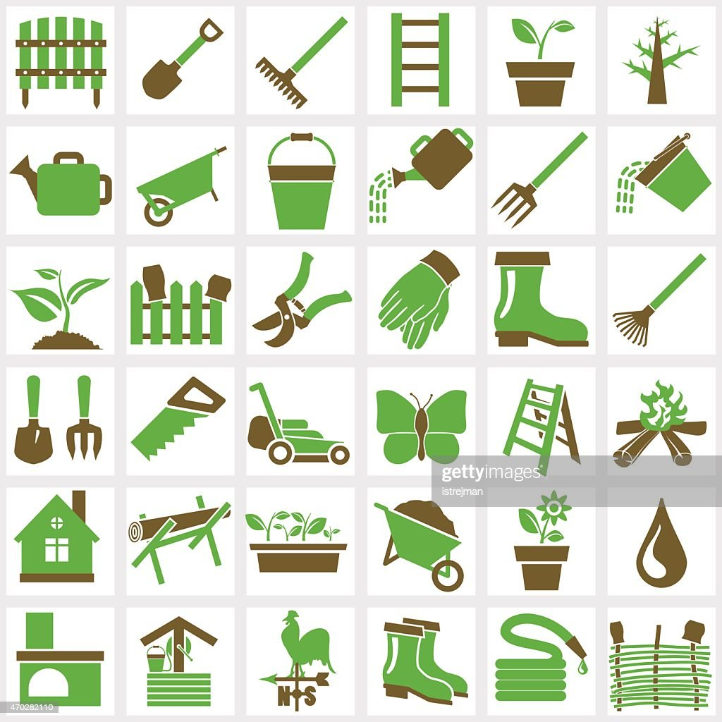 An assortment of many green and brown garden icons