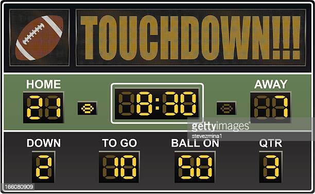 an electronic football scoreboard - scoring stock illustrations