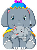 an elephant wearing a blue hat and happy playing with a cute little elephant