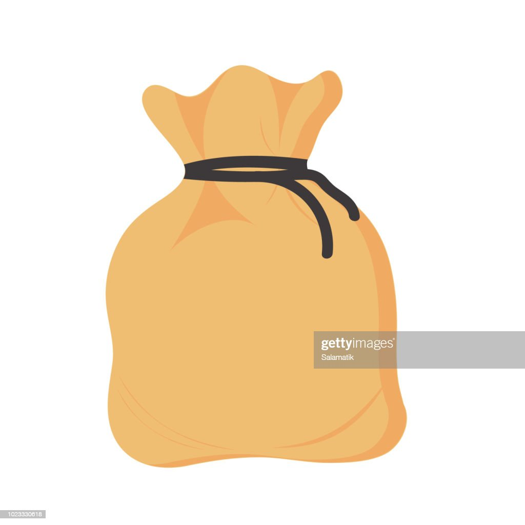 An empty burlap sack. Isolated on white background. Vector illustration
