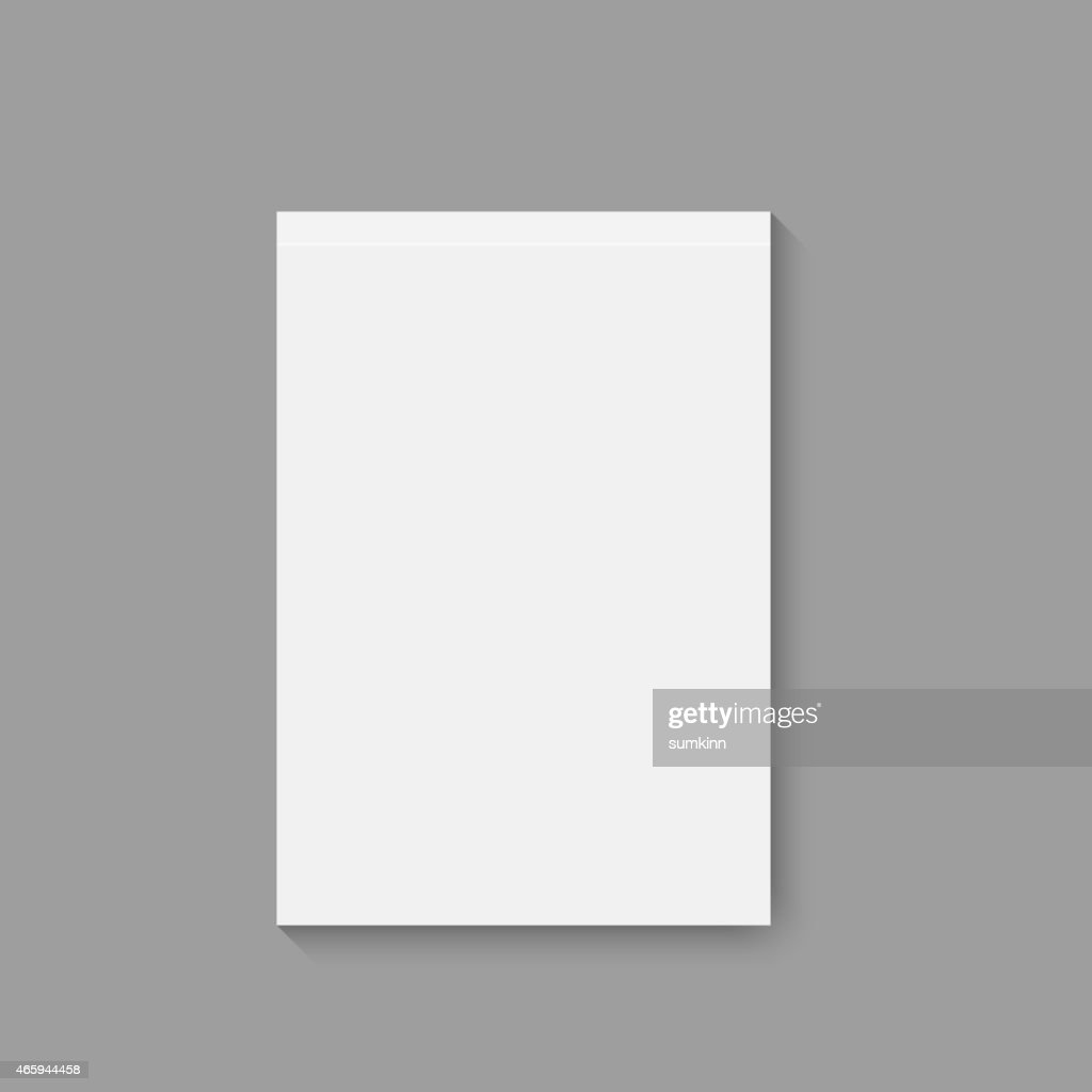An empty magazine, album or a book on a gray background