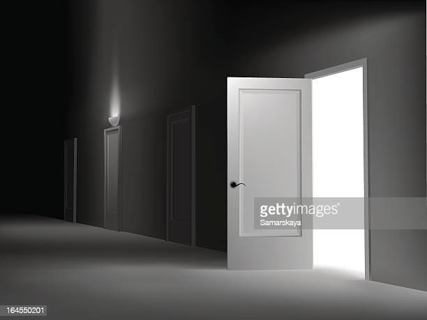 an empty white room with one open door - corridor stock illustrations, clip art, cartoons, & icons