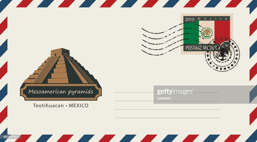 an envelope with a postage stamp with Mesoamerican pyramids