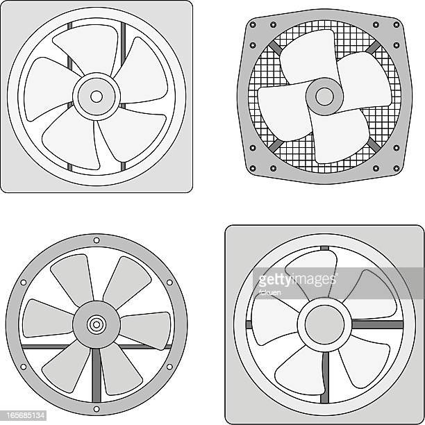 an exhaust fan black and white image - electric fan stock illustrations