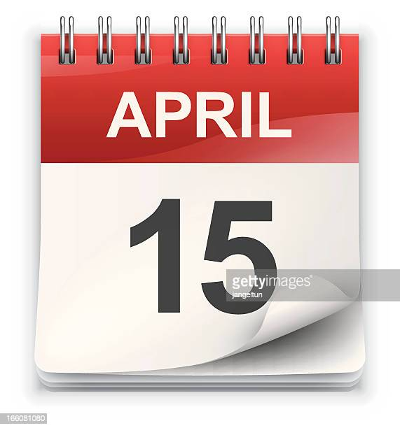 an icon of a calendar showing april 15  - day stock illustrations, clip art, cartoons, & icons