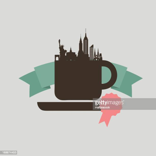 an icon of a coffee cup with the new york skyline. - st. patrick's cathedral manhattan stock illustrations, clip art, cartoons, & icons