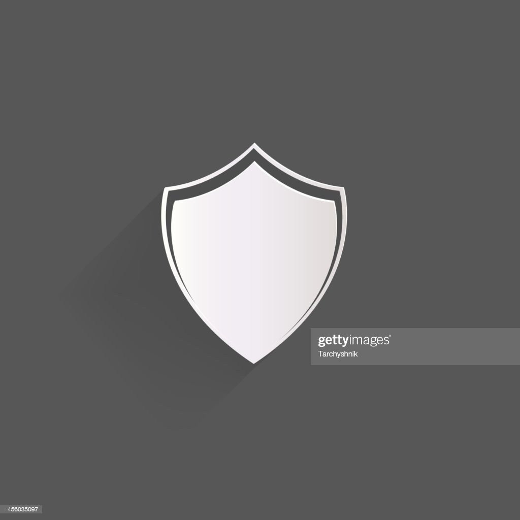 An icon of a shield against a gray background