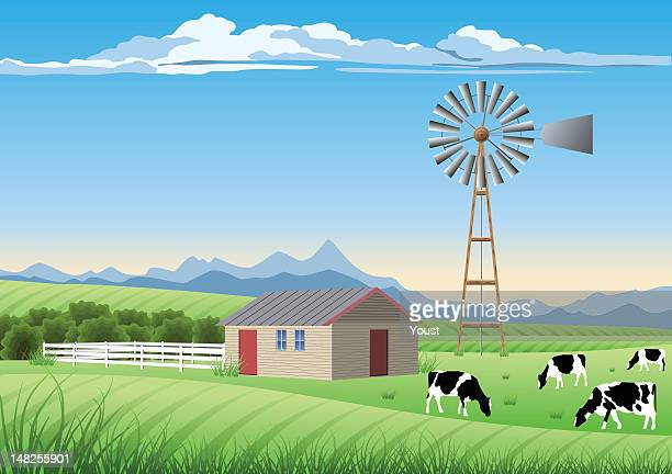 An ideal farm scene and a windmill