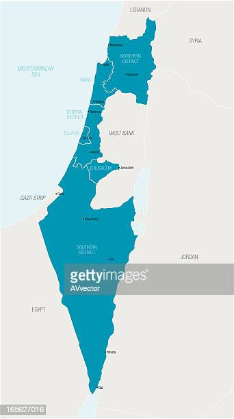 an illustrated blue map of israel - west bank stock illustrations