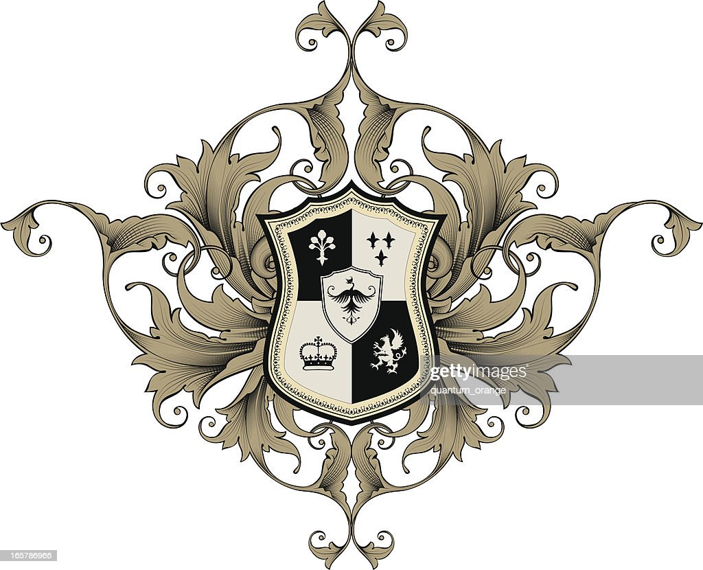 An illustrated coat of arms in Black and Tan : Stock Illustration