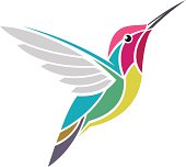 An illustrated picture of a multicolored hummingbird