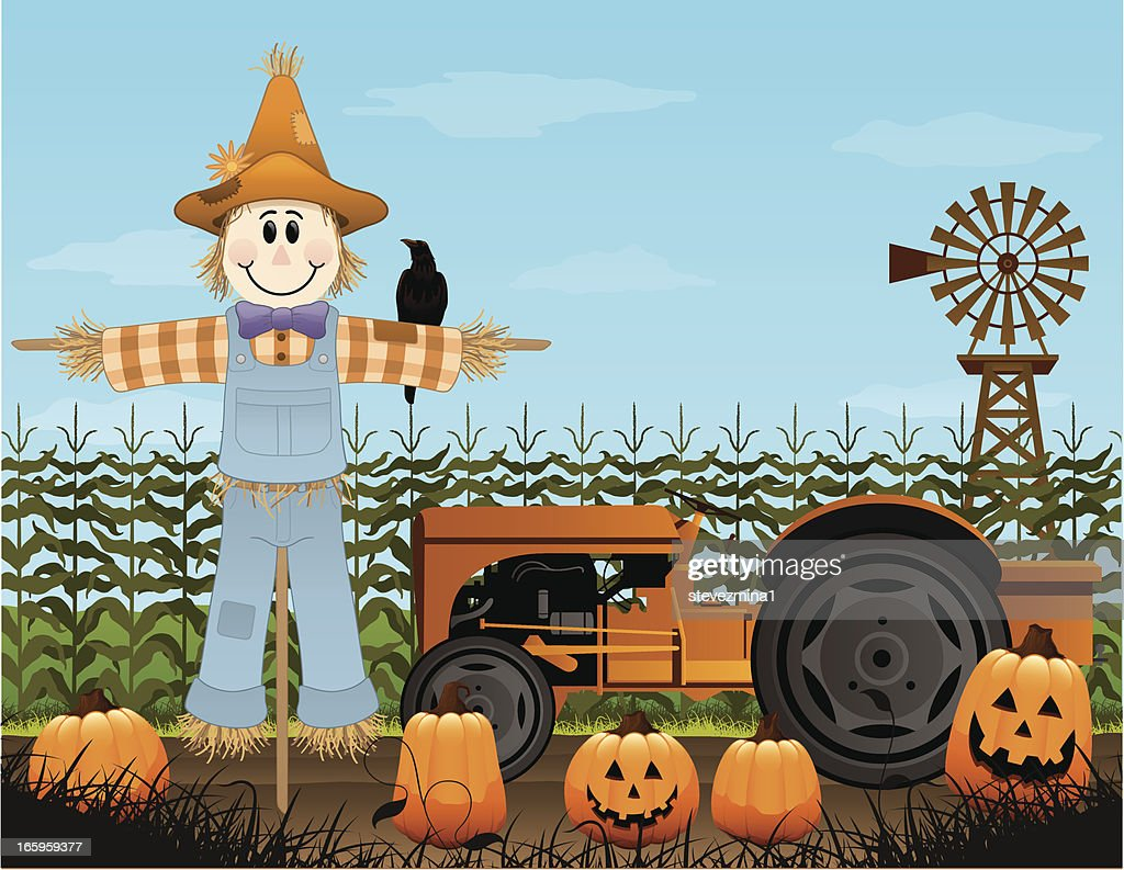 An illustration design of a scarecrow and a tractor