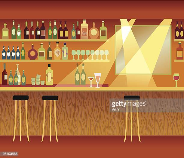 an illustration of a bar with spot lights - stool stock illustrations, clip art, cartoons, & icons