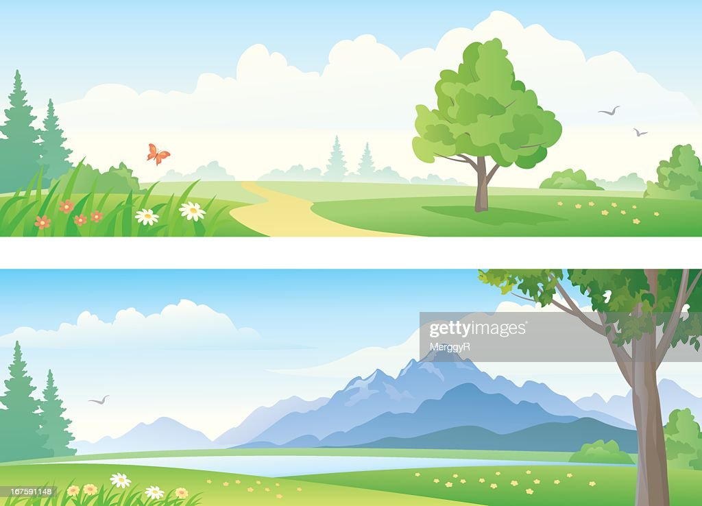 An illustration of a beautiful landscape banners