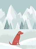An illustration of a brown dog in the snow