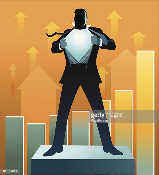 An illustration of a business super hero