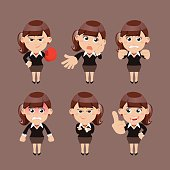 An illustration of a businesswoman with various reactions