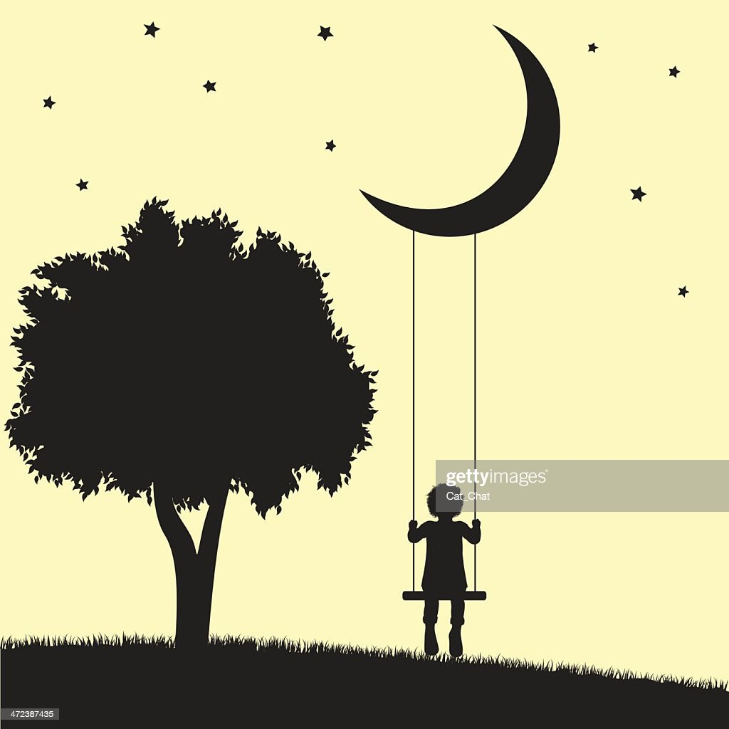 An illustration of a child swinging on the moon