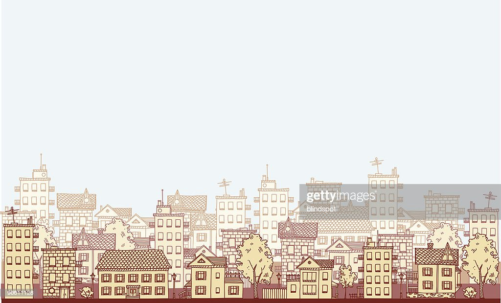 An illustration of a cityscape in varying shades of beige : stock illustration