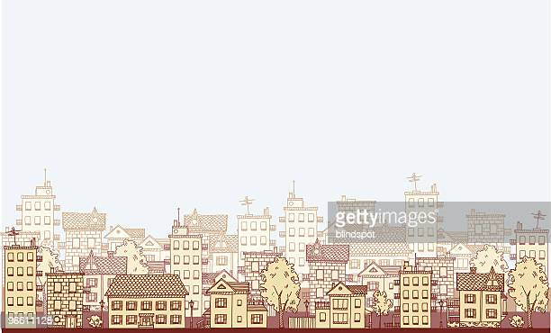 an illustration of a cityscape in varying shades of beige - architectural feature stock illustrations, clip art, cartoons, & icons