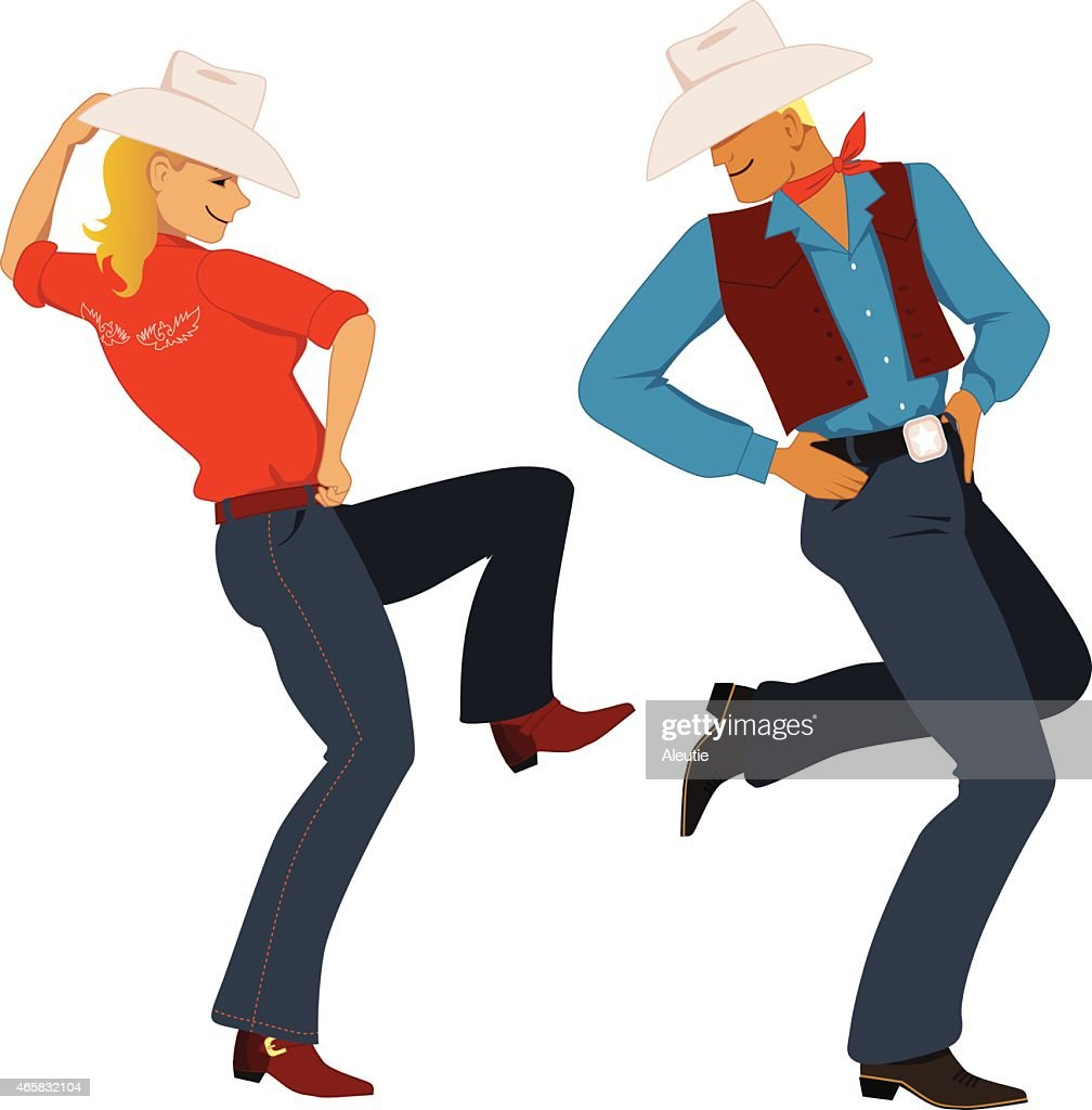 An illustration of a cow boy and girl dancing