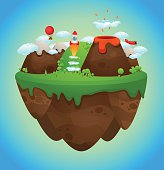 An illustration of a cute floating island