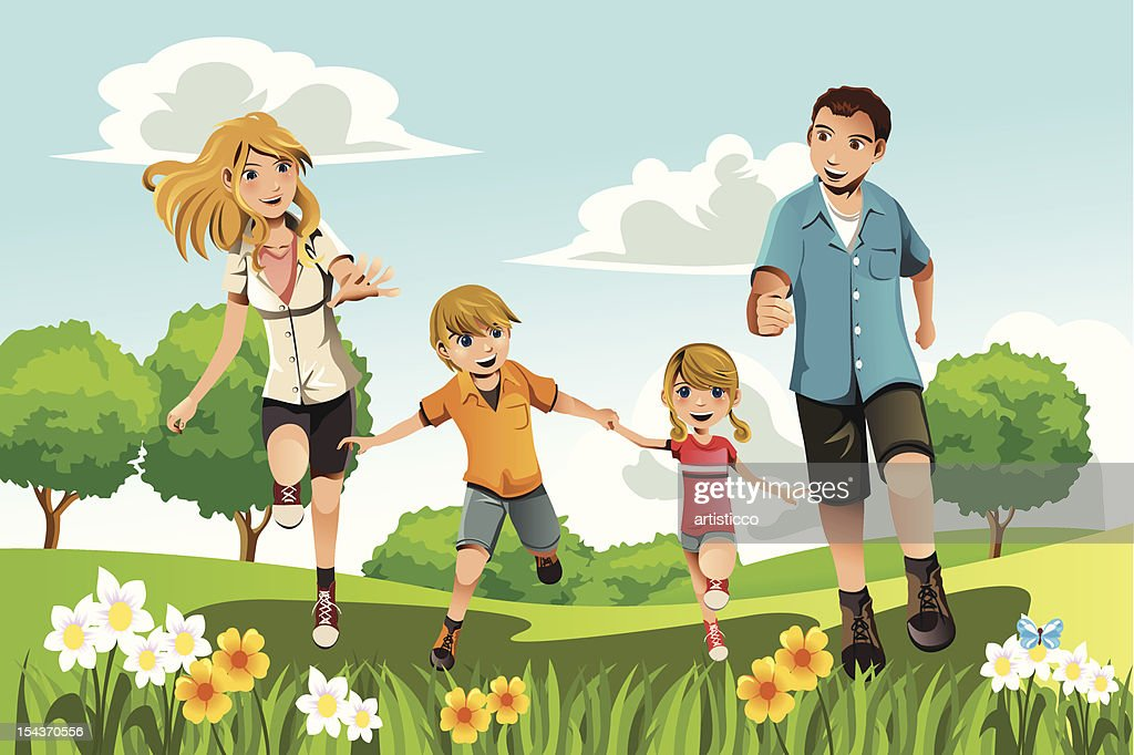 An illustration of a family running in the park