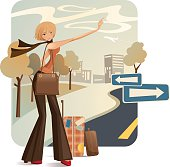 An illustration of a hitch hiker with their thumb up