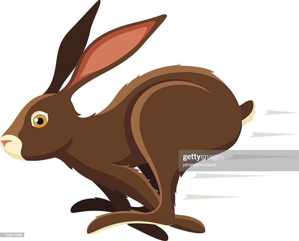 An illustration of a hopping bunny rabbit