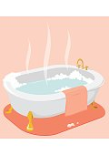 An illustration of a hot bath tub with pink towel