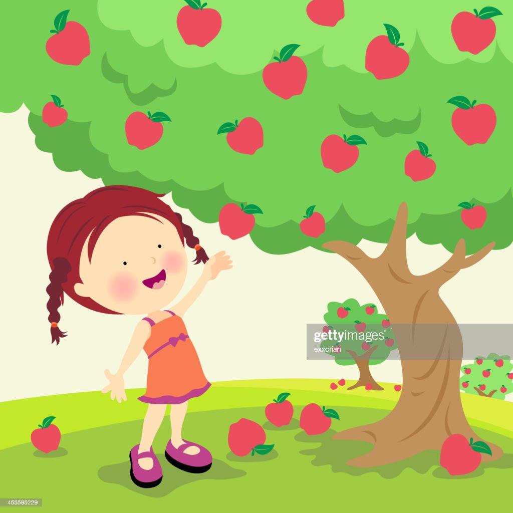An illustration of a little girl picking ripe apples