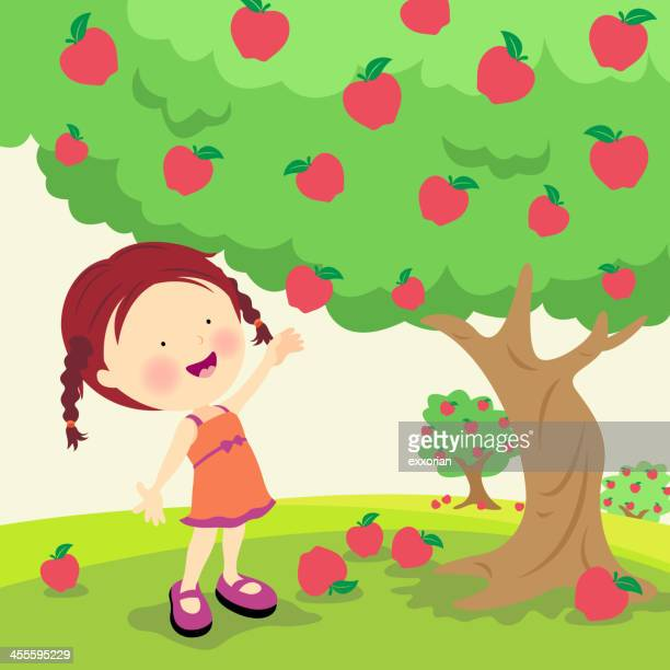 An illustration of a little girl picking ripe apples