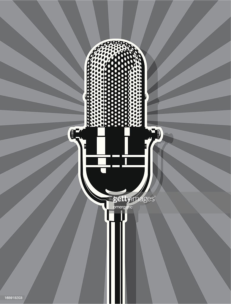 An illustration of a microphone in black and white : stock illustration