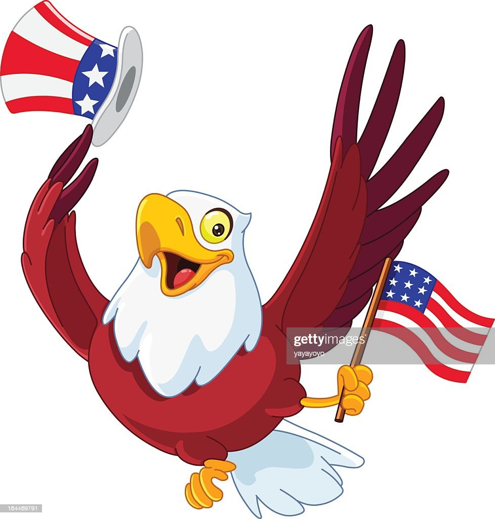 An illustration of a patriotic American eagle