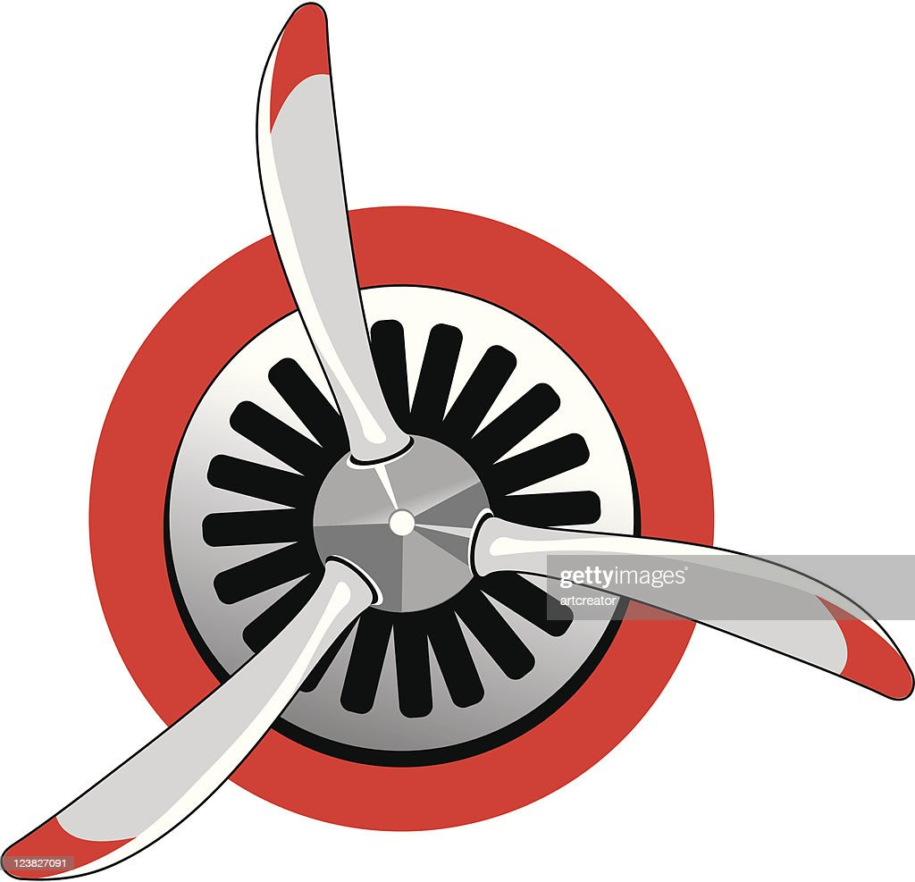 An illustration of a red and white propellor