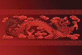 An illustration of a red Chinese dragon