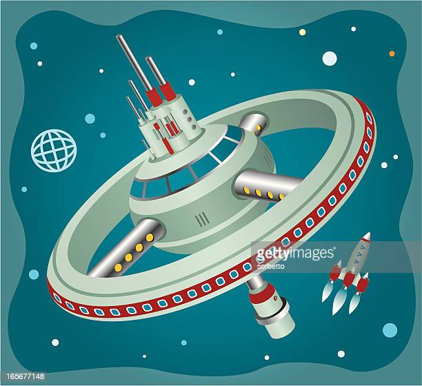 an illustration of a rocket and a space station - space station stock illustrations