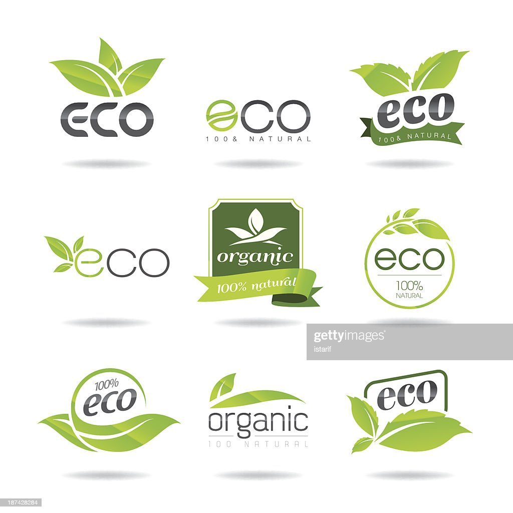 An illustration of a set of green Eco icons on a white back