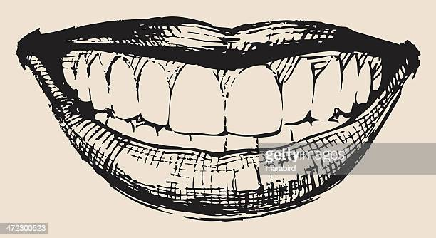 an illustration of a smile in black and white - laughing stock illustrations, clip art, cartoons, & icons